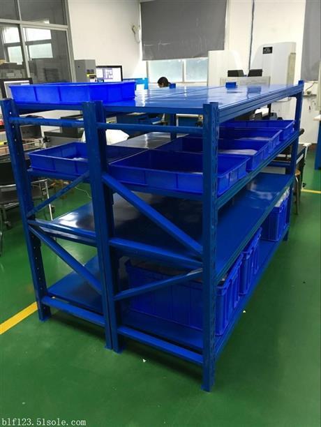厂家定制仓储货架-四层钢板中型货架-轻型木板层板货架